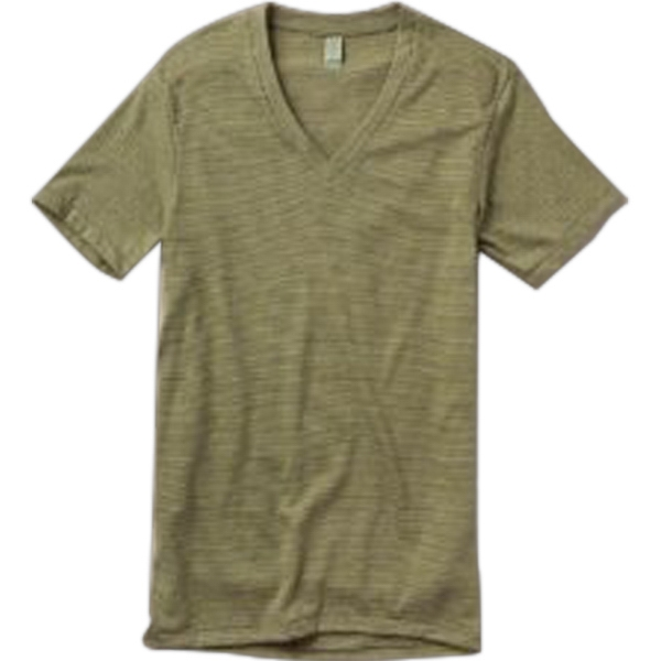S- X L - Men's Feeder Stripe V-neck T-shirt Made Of 50% Polyester, 8% Cotton And 12% Rayon Photo