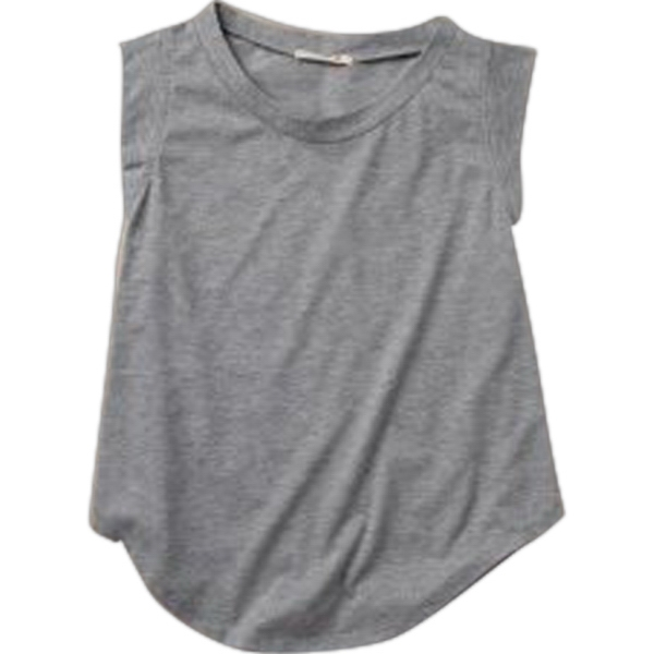 Women's Cap Sleeve Crew With Cropped And Curved Hem Photo