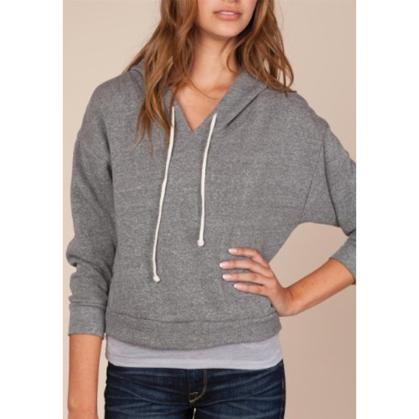 Dolman - Women's Pullover Hoodie With Natural Drawstring Cord Photo