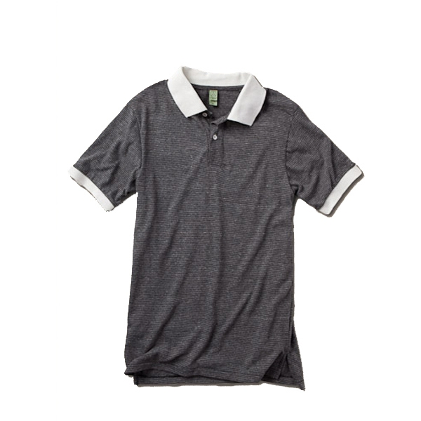 S- X L - Men's Feeder Stripe Polo Shirt Made Of 50% Polyester, 38% Cotton And 12% Rayon Photo