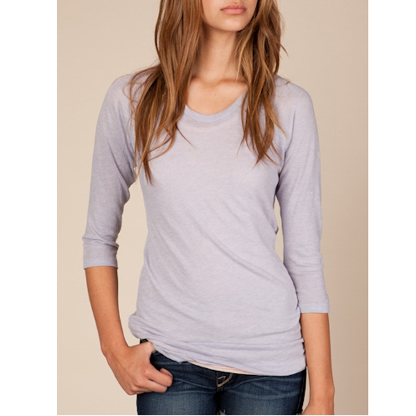 Women's Gauze Baseball Tee With 3/4 Length Raglan Sleeves Photo