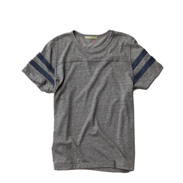 S- X L - Men's Eco Football T-shirt With Sport Stripes On Sleeves Photo