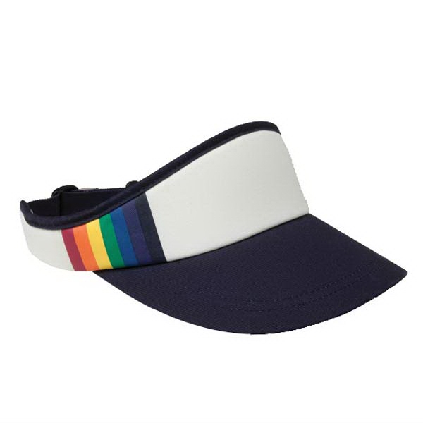 Rainbow - Unisex 70's Inspired Visor With Crown And Contrasting Color Bill Photo
