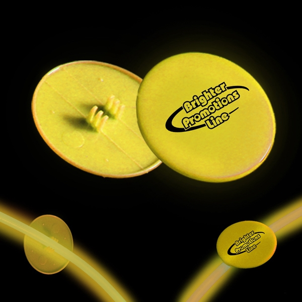 "Yellow 1 1/2"" Clip On Medallion For Glow Necklaces And Bracelets Photo"