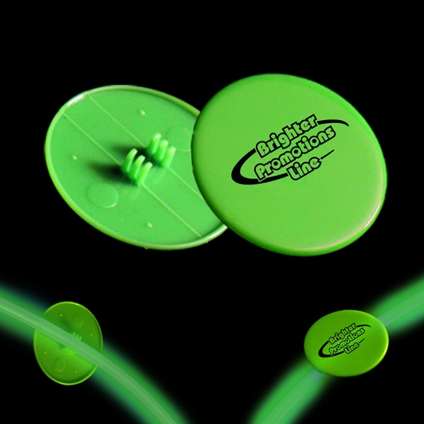 "Green 1 1/2"" Clip On Medallion For Glow Necklaces And Bracelets Photo"