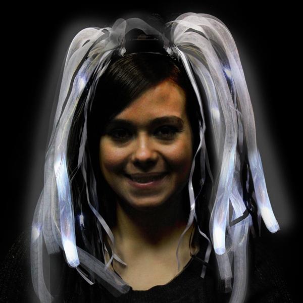 Black and White Diva Dreads(TM) LED LightUp Costume Headband