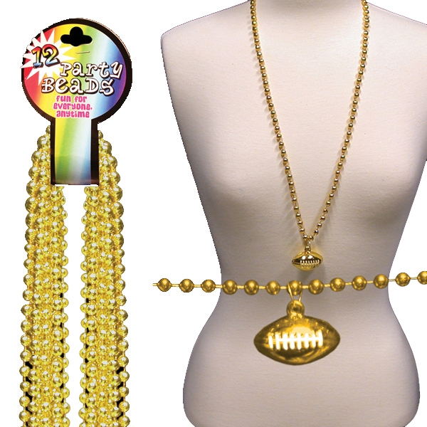 Gold Beaded Mardi Gras Beads Necklace With Football Pendant, Blank Photo