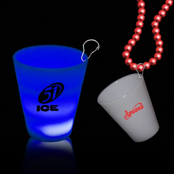 Blue 2 oz Neon Look LED Light Up Glow Shot Glass with J Hook