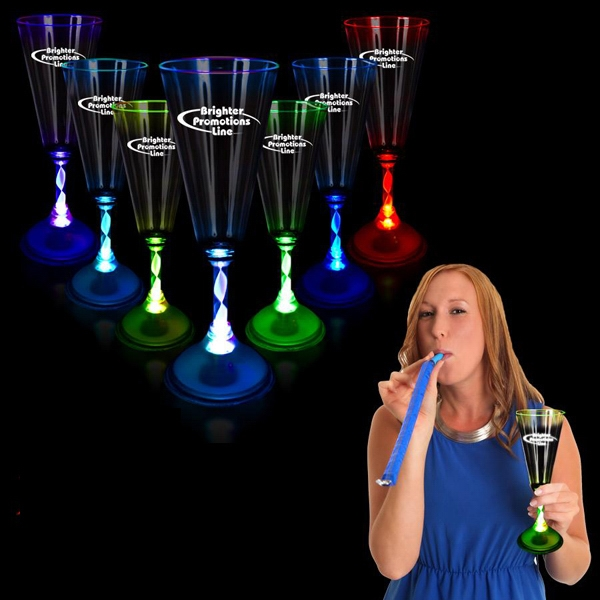 7 1/2 Oz Light Up Champagne Glass With Frosted Base Photo