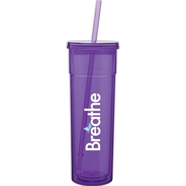 Torino - Purple - 16 Oz Acrylic Double Wall Tumbler With Threaded Lid And Matching Straw Photo