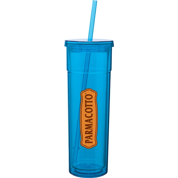 Torino - Aqua - 16 Oz Acrylic Double Wall Tumbler With Threaded Lid And Matching Straw Photo
