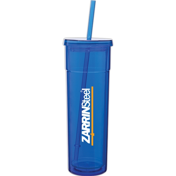 Torino - Blue - 16 Oz Acrylic Double Wall Tumbler With Threaded Lid And Matching Straw Photo