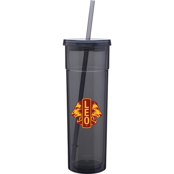 Torino - Graphite - 16 Oz Acrylic Double Wall Tumbler With Threaded Lid And Matching Straw Photo