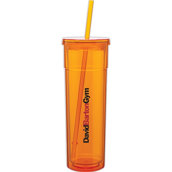 Torino - Tangerine - 16 Oz Acrylic Double Wall Tumbler With Threaded Lid And Matching Straw Photo