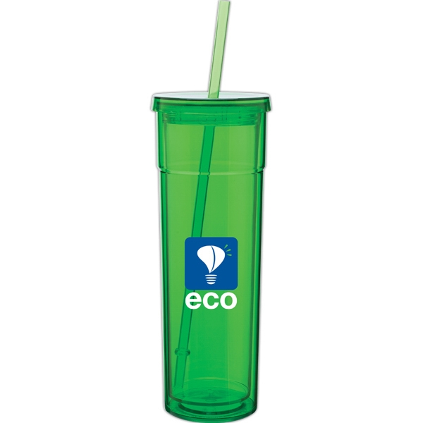 Torino - Apple - 16 Oz Acrylic Double Wall Tumbler With Threaded Lid And Matching Straw Photo