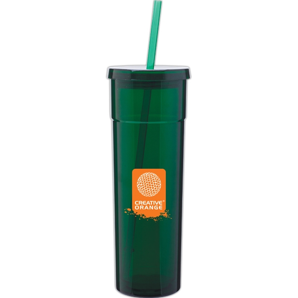Torino - Green - 16 Oz Acrylic Double Wall Tumbler With Threaded Lid And Matching Straw Photo