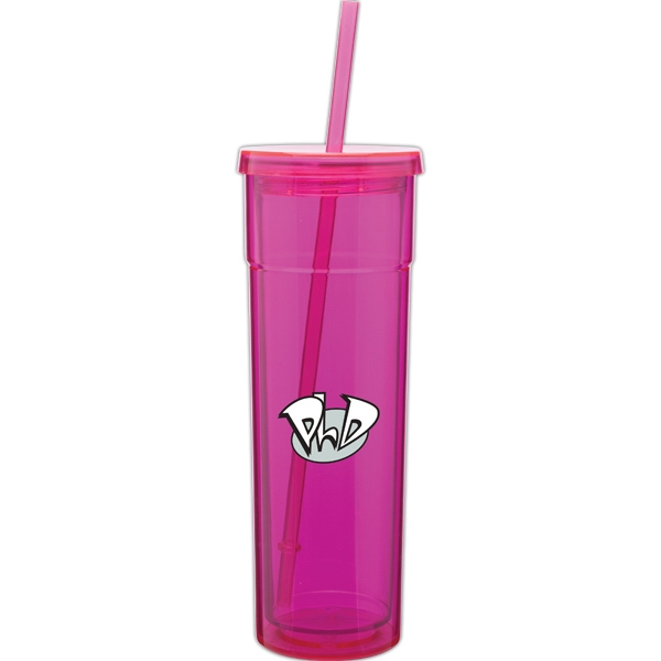 Torino - Fuchsia - 16 Oz Acrylic Double Wall Tumbler With Threaded Lid And Matching Straw Photo