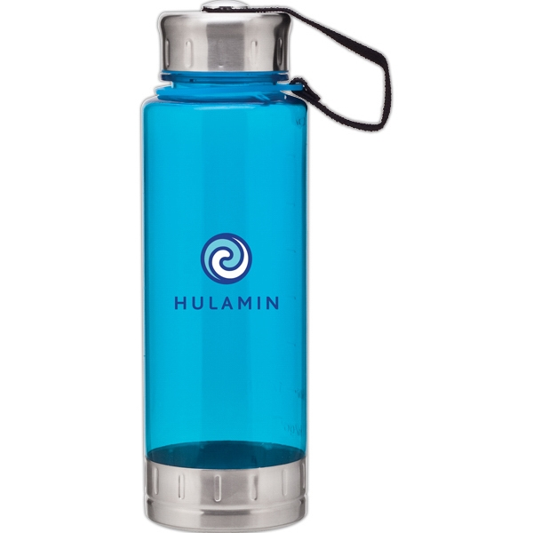 H2go (r) Fusion - Aqua - 23 Oz Single Wall (bpa Free) Acrylic Bottle, Threaded Lid With Stainless Accents Photo