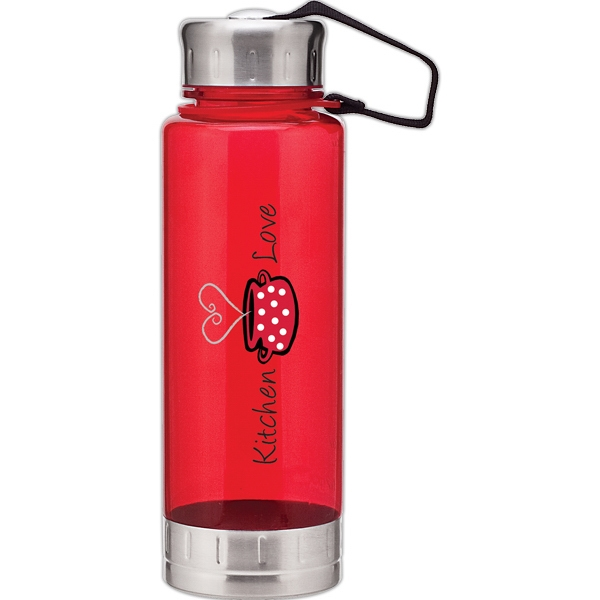 H2go (r) Fusion - Red - 23 Oz Single Wall (bpa Free) Acrylic Bottle, Threaded Lid With Stainless Accents Photo