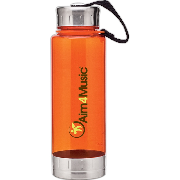 H2go (r) Fusion - Orange - 23 Oz Single Wall (bpa Free) Acrylic Bottle, Threaded Lid With Stainless Accents Photo
