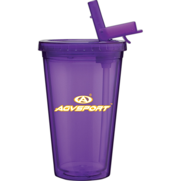Spirit Sport - Purple - 16 Oz Acrylic Double Wall Tumbler With Threaded Lid And Flip-up Straw Photo