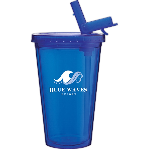 Spirit Sport - Blue - 16 Oz Acrylic Double Wall Tumbler With Threaded Lid And Flip-up Straw Photo