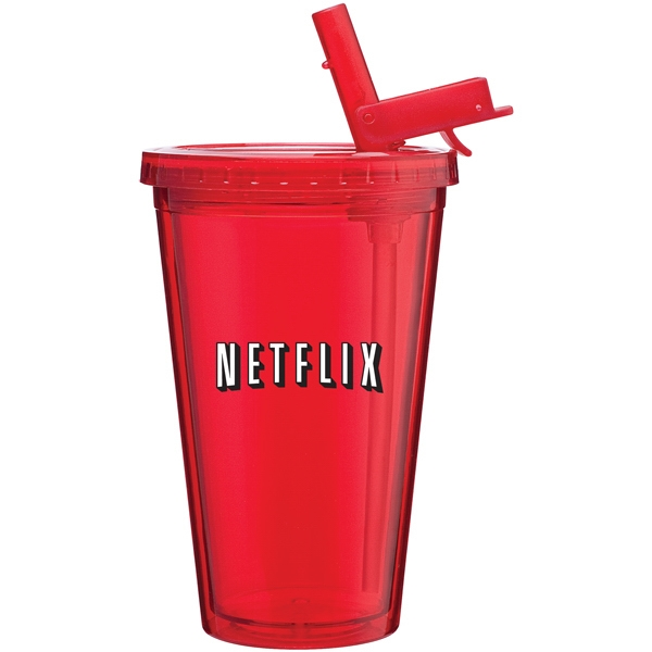 Spirit Sport - Red - 16 Oz Acrylic Double Wall Tumbler With Threaded Lid And Flip-up Straw Photo