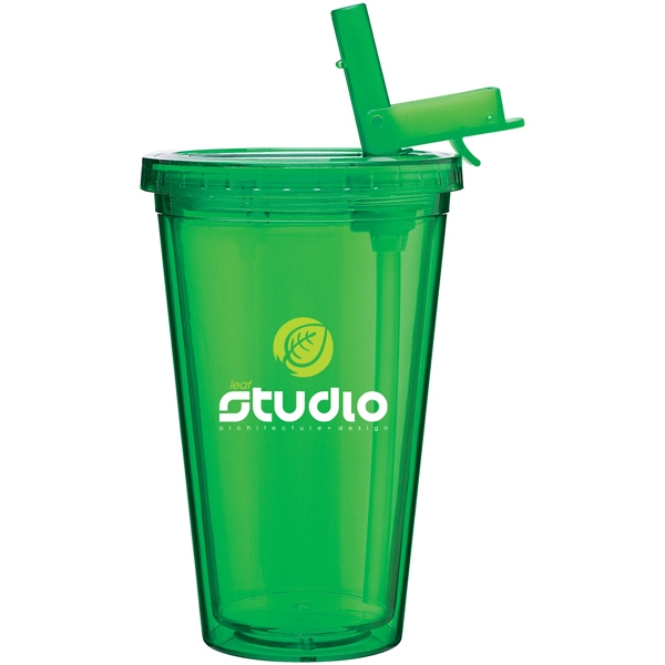 Spirit Sport - Apple - 16 Oz Acrylic Double Wall Tumbler With Threaded Lid And Flip-up Straw Photo