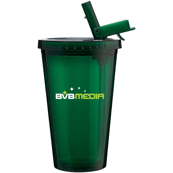 Spirit Sport - Green - 16 Oz Acrylic Double Wall Tumbler With Threaded Lid And Flip-up Straw Photo