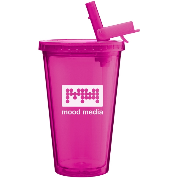 Spirit Sport - Fuchsia - 16 Oz Acrylic Double Wall Tumbler With Threaded Lid And Flip-up Straw Photo