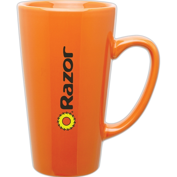 Orange - Glossy Ceramic, Tall Latte Mug, 16 Oz Photo