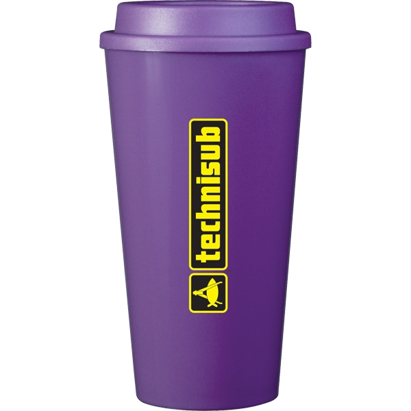 Cup2go (r) - Purple - 16 Oz Double Wall Polypropylene Cup With Threaded Lid Photo