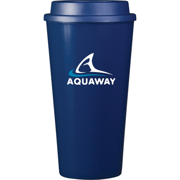 Cup2go (r) - Blue - 16 Oz Double Wall Polypropylene Cup With Threaded Lid Photo
