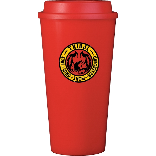Cup2go (r) - Red - 16 Oz Double Wall Polypropylene Cup With Threaded Lid Photo