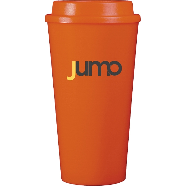 Cup2go (r) - Orange - 16 Oz Double Wall Polypropylene Cup With Threaded Lid Photo