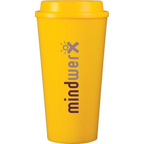 Cup2go (r) - Yellow - 16 Oz Double Wall Polypropylene Cup With Threaded Lid Photo