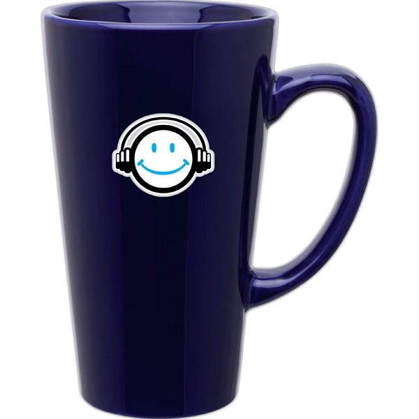 Cobalt Blue - Glossy Ceramic, Tall Latte Mug, 16 Oz Photo