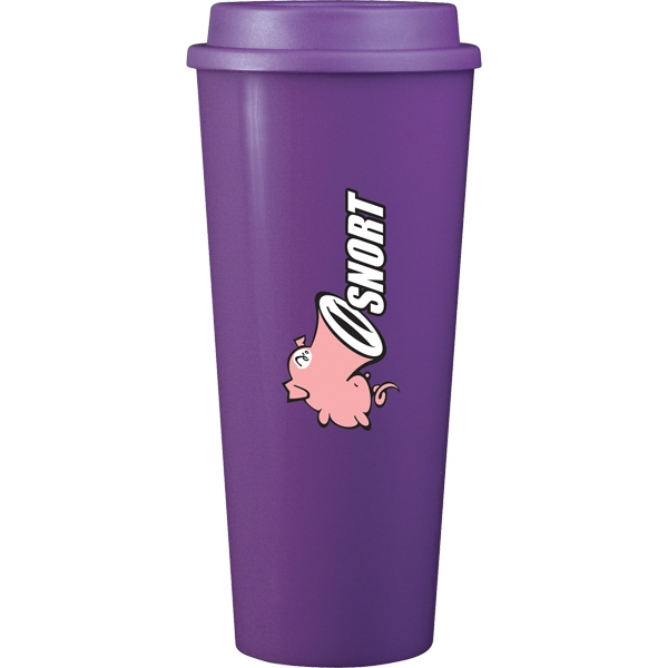 Cup2go (tm) - Purple - 20 Oz Double Wall Polypropylene Cup With Threaded Lid Photo