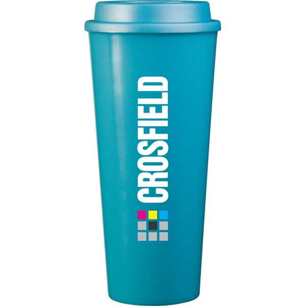 Cup2go (tm) - Aqua - 20 Oz Double Wall Polypropylene Cup With Threaded Lid Photo