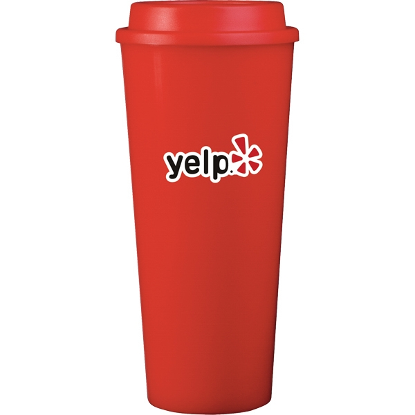 Cup2go (tm) - Red - 20 Oz Double Wall Polypropylene Cup With Threaded Lid Photo