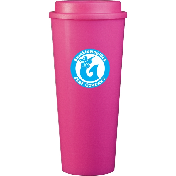Cup2go (tm) - Pink - 20 Oz Double Wall Polypropylene Cup With Threaded Lid Photo