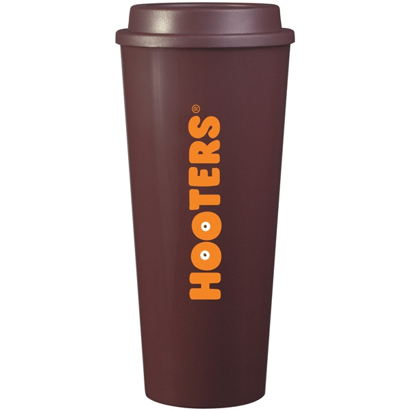 Cup2go (tm) - Brown - 20 Oz Double Wall Polypropylene Cup With Threaded Lid Photo