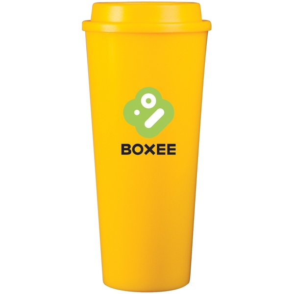 Cup2go (tm) - Yellow - 20 Oz Double Wall Polypropylene Cup With Threaded Lid Photo