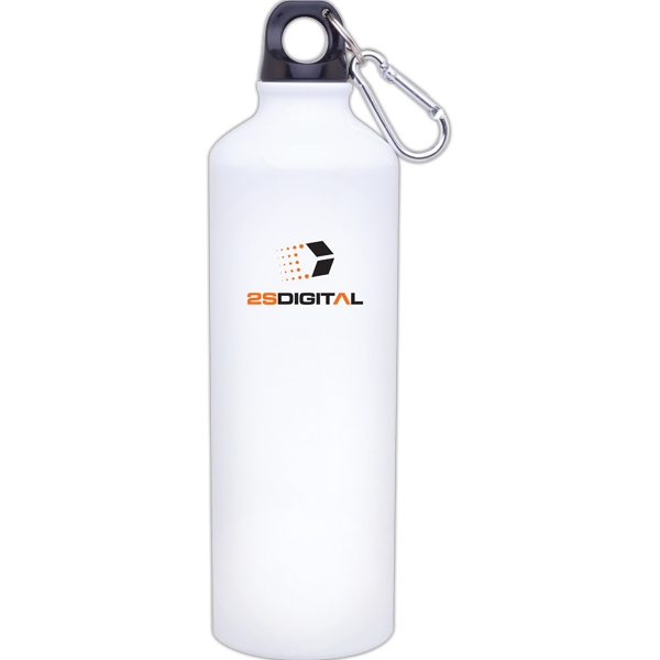H2go (r) Classic - White - 24 Oz Aluminum Single Wall Water Bottle With Threaded Lid, Carabiner Included Photo