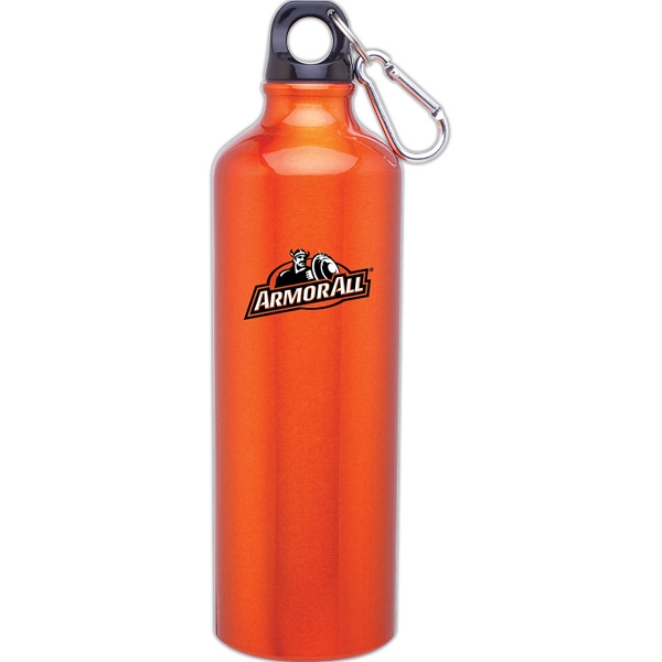 H2go (r) Classic - Tangerine - 24 Oz Aluminum Single Wall Water Bottle With Threaded Lid, Carabiner Included Photo