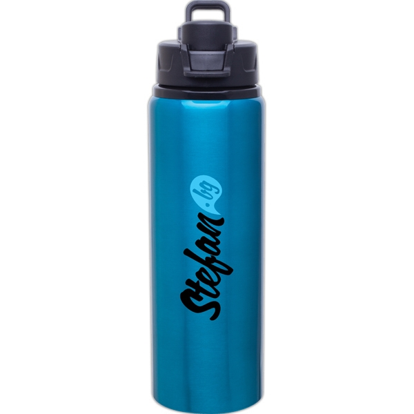 H2go (r) Surge - Aqua - 28 Oz Single Wall Aluminum Water Bottle With Threaded Flip-top Lid Photo