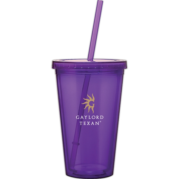 Spirit - Purple - 16 Oz Acrylic Double Wall Tumbler With Threaded Lid And Matching Straw Photo