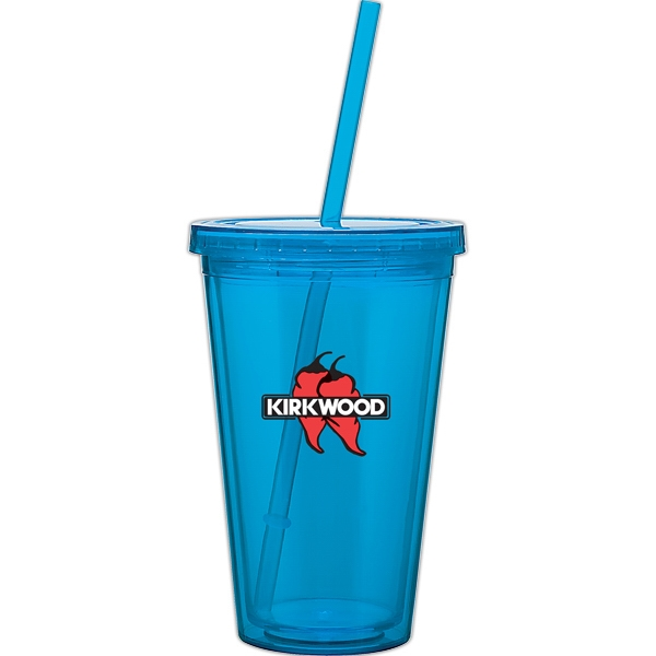 Spirit - Aqua - 16 Oz Acrylic Double Wall Tumbler With Threaded Lid And Matching Straw Photo