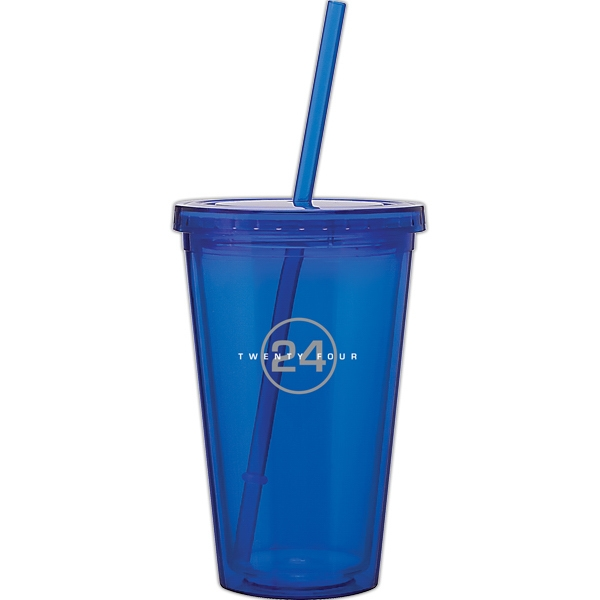Spirit - Blue - 16 Oz Acrylic Double Wall Tumbler With Threaded Lid And Matching Straw Photo