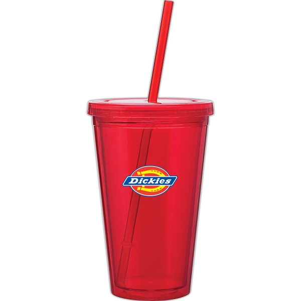 Spirit - Red - 16 Oz Acrylic Double Wall Tumbler With Threaded Lid And Matching Straw Photo